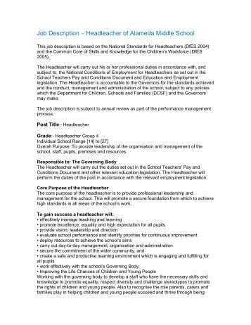 Job Description – Headteacher of Alameda Middle School
