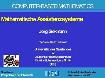 Perspektiven der Informatik Universität des Saarlandes