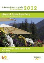 Val d'Ultimo.Alta Val di Non Ultental.Deutschnonsberg - Meraner Land