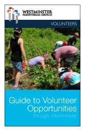 Guide to Volunteer Opportunities - Westminster Presbyterian Church
