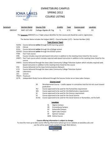 emmetsburg campus spring 2012 course listing - Iowa Lakes ...