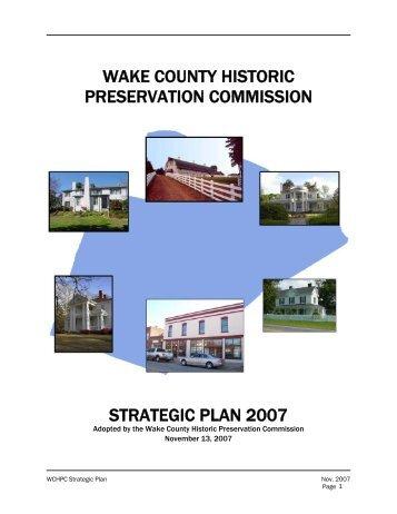 wake county historic preservation commission strategic plan 2007