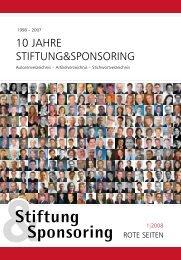 10 JAHRE STIFTUNG&SPONSORING - Stiftung & Sponsoring