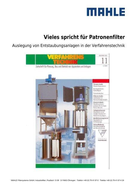 Vieles spricht für Patronenfilter 06.2003 - MAHLE Industry - Filtration
