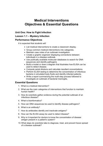 Unit One Objectives & Essential Questions