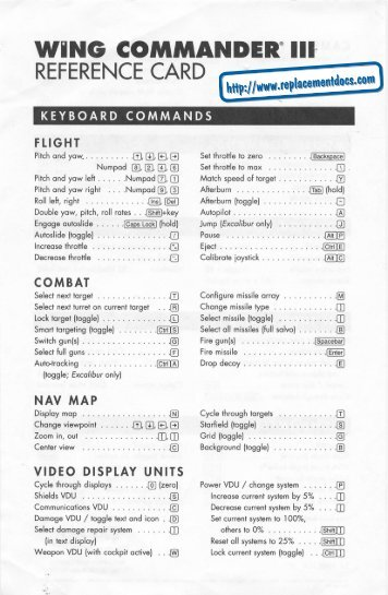 Wing Commander III - Quick Reference Card.pdf