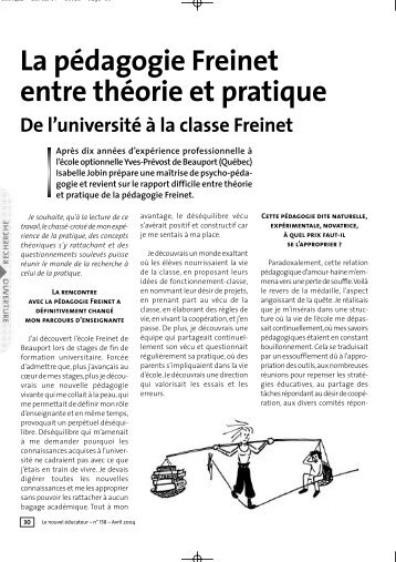 La pédagogie Freinet entre théorie et pratique - Icem