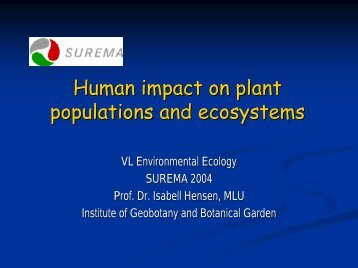 Human impact on plant populations and ecosystems