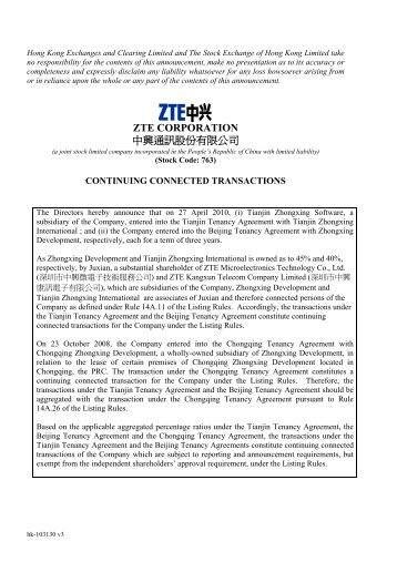 zte corporation continuing connected transactions