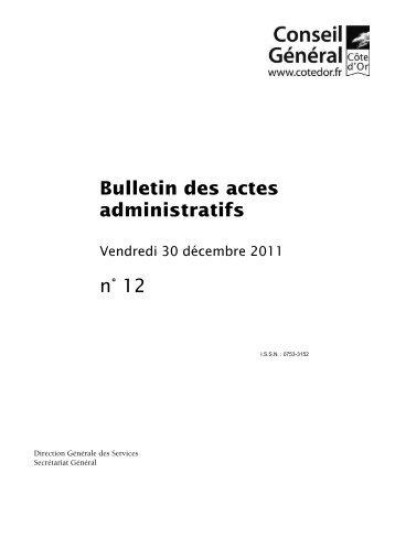 Décembre 2011 - Bulletin des actes administratifs - Conseil général ...