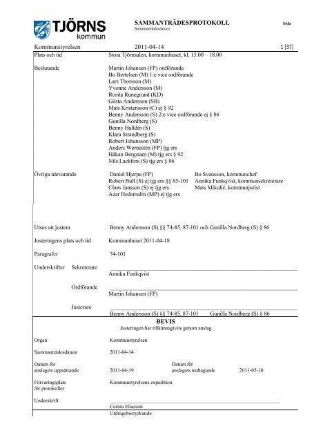 Kommunstyrelsens protokoll 2011-04-14 - Tjörns kommun