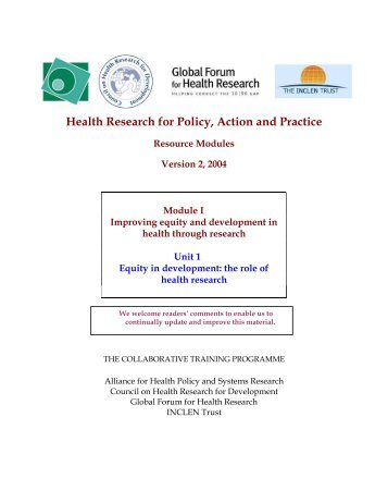 Health Research for Policy, Action and Practice - The INCLEN Trust