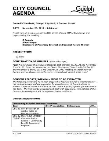 City Council Agenda - November 26, 2012 - City of Guelph