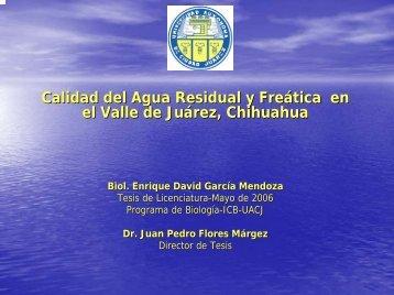 Calidad del Agua Residual y Freática en el Valle de Juárez ...