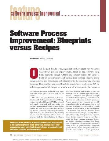 Software process improvement: blueprints versus recipes - Software ...
