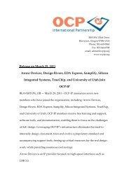 Arrow Devices, Design Rivers, EDA Express, Samplify ... - OCP-IP