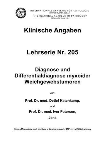 Klinische Angaben Lehrserie Nr. 205 Diagnose und ... - Iap-bonn.de