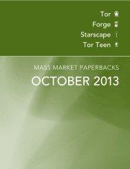 October 2013 Tor / Forge Mass Market Catalogue - Raincoast Books