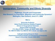 Immigration, Community and Ethnic Diversity - Integration of ...