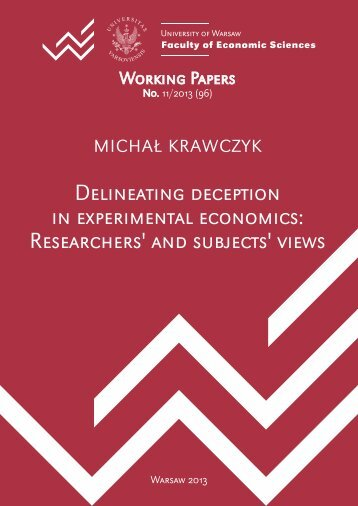 Delineating deception in experimental economics: Researchers' and ...