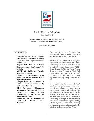 AAA Weekly E-Update - American Ambulance Association