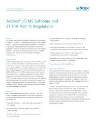 Analyst® LC/MS Software and 21 CFR Part 11 Regulations - AB Sciex