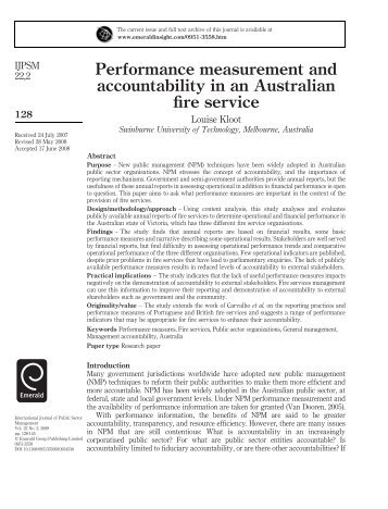 Performance measurement and accountability in an ... - Emerald