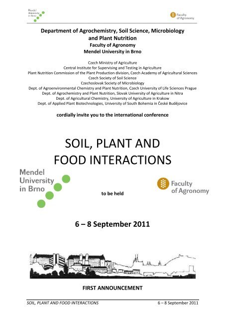 Soil, plant and food interactions - first announcement