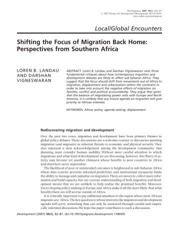 Shifting the Focus of Migration Back Home ... - IngentaConnect