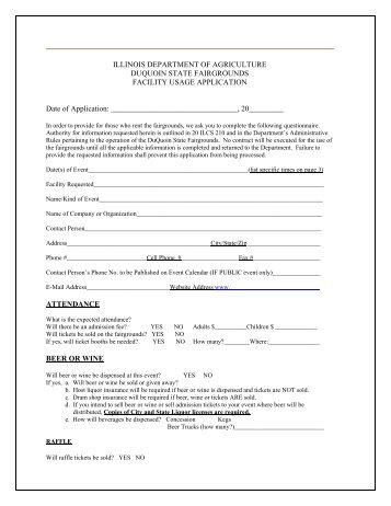 Space Rental Application - Illinois Department of Agriculture