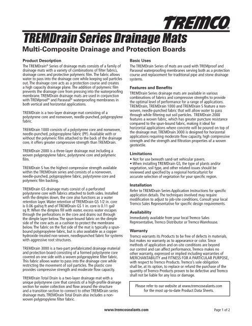 TREMDrain Series Drainage Mats - Tremco Sealants