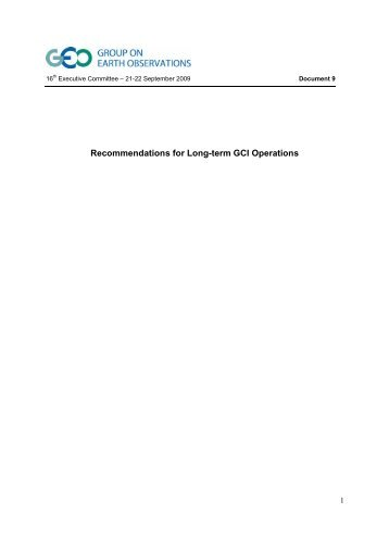 Recommendations for Long-term GCI Operations - Group on Earth ...
