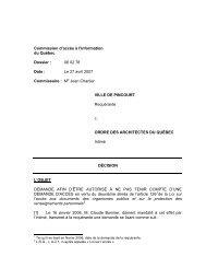 Ville de Pincourt c. Ordre des architectes - Commission d'accès à l ...