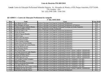 Lista de Horários PSS 005/2010 Local: Centro de ... - Sectec
