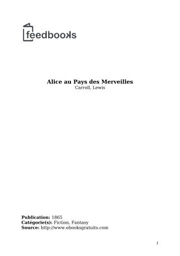 Alice au Pays des Merveilles - Lecteurs.com