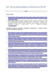 2010 – 1989 metų mokslinės publikacijos - Saulius Čaplinskas