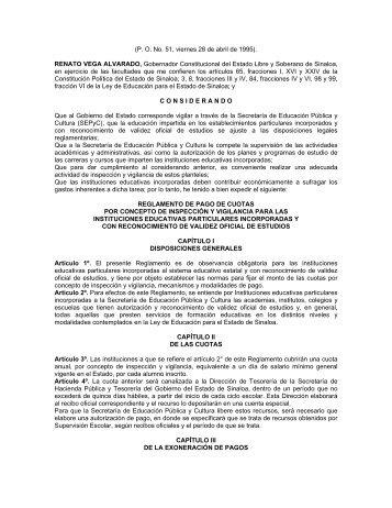 Reglamento de Pago de Cuotas por Concepto de Inspección y ...