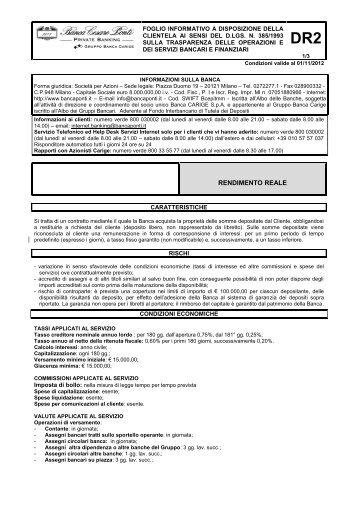 RENDIMENTO REALE - Banca Carige