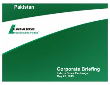 Lafarge Pakistan - Lahore Stock Exchange