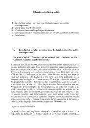 Education et cohésion sociale I. La cohésion sociale : un enjeu pour ...