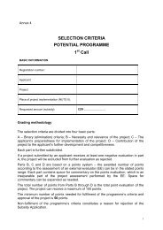 Selection criteria - CzechInvest