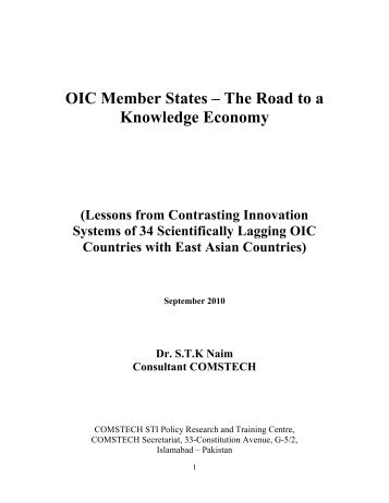 OIC Member States – The Road to a Knowledge Economy - VISB