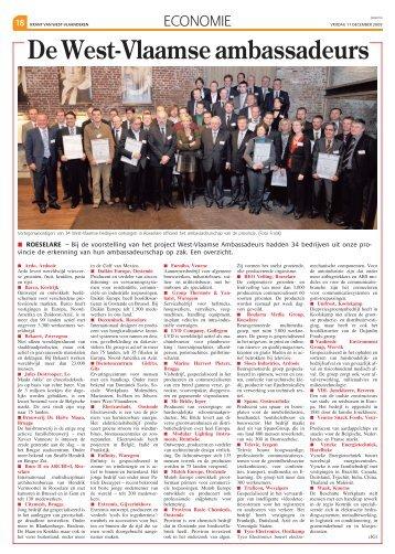 Overzicht van de West-Vlaamse ambassadeurs - Provincie West ...