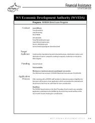 (WVEDA) Program - West Virginia Department of Commerce