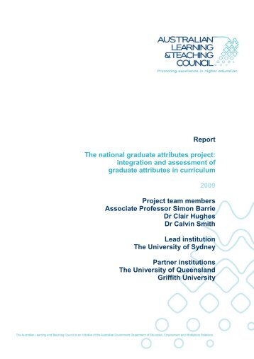 The National Graduate Attributes Project - Institute for Teaching and ...