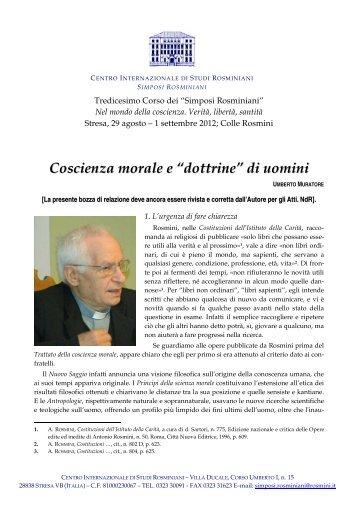 """Umberto Muratore Rosmini: coscienza morale e """"dottrine"""" - Centro ..."""
