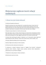 Historyczne zaplecze teorii relacji osobowych - Katedra Historii ...
