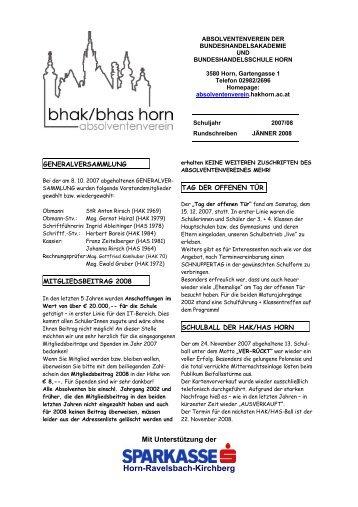 Rundschreiben Jänner 2008 - BHAK/BHAS Horn