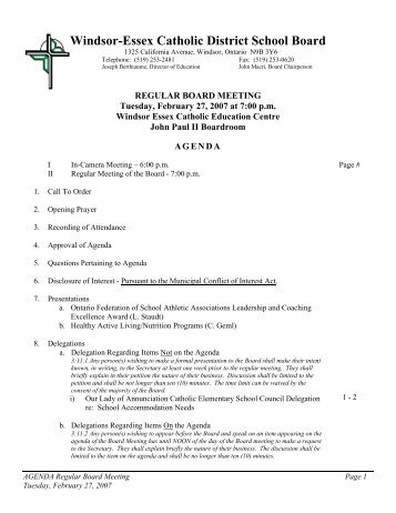 board report - Windsor-Essex Catholic District School Board
