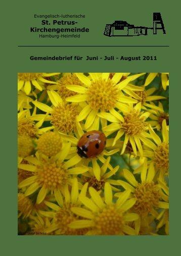 Gemeindebrief für Juni bis August 2011 - St. Petrus – Hamburg ...